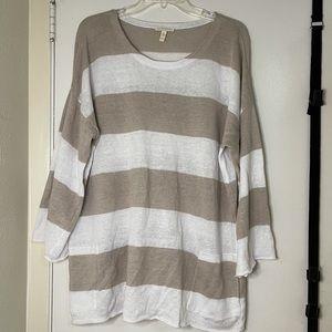EILEEN FISHER Organic Linen Stripe sweater